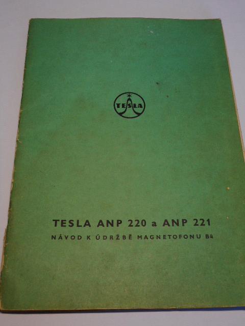 Tesla ANP 220 a ANP 221 - návod k údržbě magnetofonu B4 - 1968