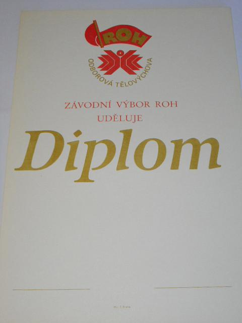 ROH odborová tělovýchova - diplom
