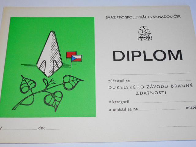 Svazarm - Svaz pro spolupráci s armádou - Dukelský závod branné zdatnosti - diplom