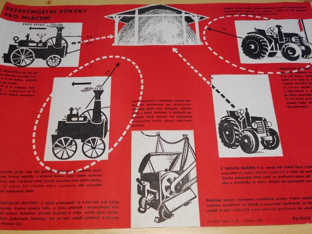 Bezpečnostní pokyny pro mlácení - plakát - 1953 - Státní pojišťovna