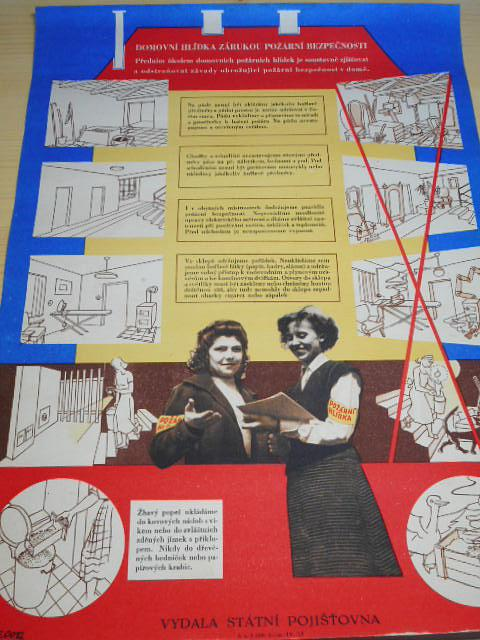 Domovní hlídka zárukou požární bezpečnosti - plakát - 1953 - Státní pojišťovna