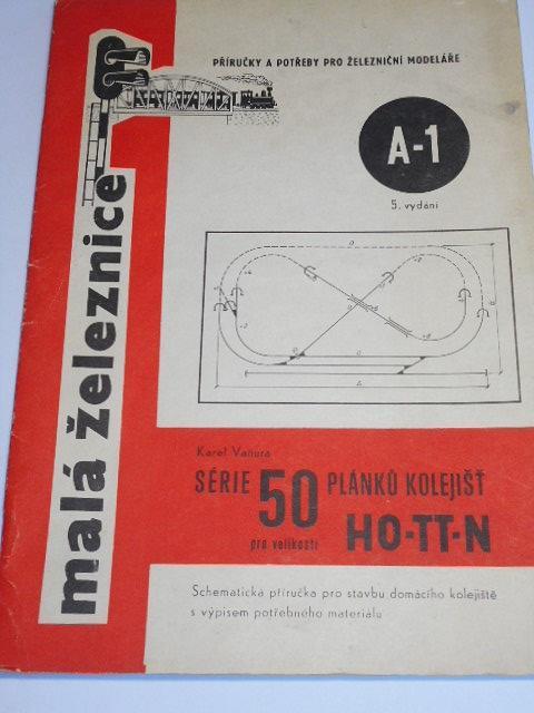 Série 50 plánků kolejišť pro velikosti H0 - TT - N - malá železnice - Karel Vaňura - 1971