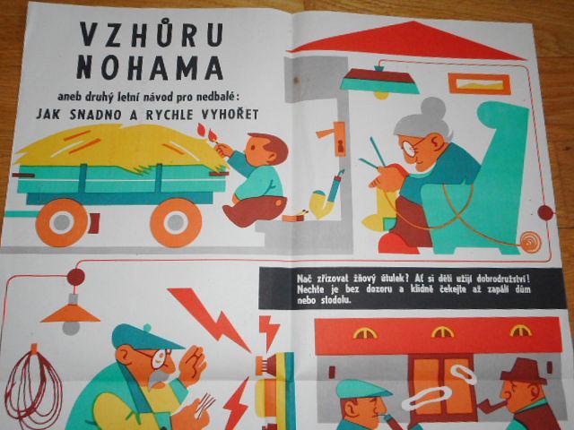 Vzhůru nohama aneb druhý letní návod pro nedbalé: jak snadno a rychle vyhořet - Československý svaz požární ochrany - plakát - 1962