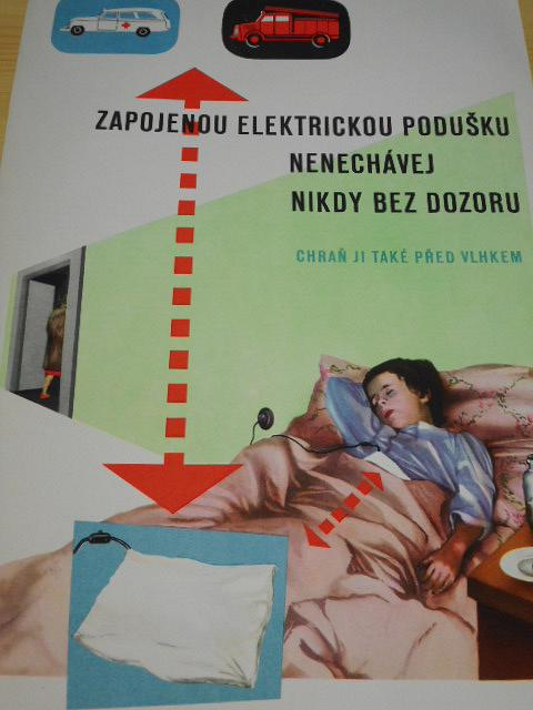 Zapojenou elektrickou podušku nenechávej nikdy bez dozoru, chraň ji také před vlhkem.