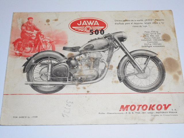 ČZ 125/150 C, JAWA 250 pérák, 350 pérák, 500 OHC - prospekt - 1953
