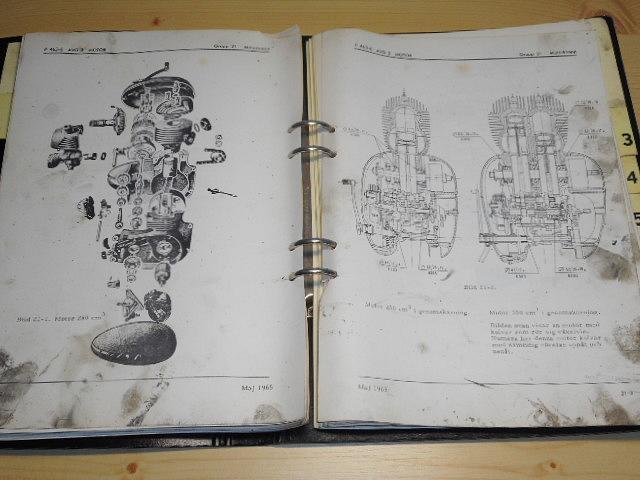 JAWA 250, 350 - Mc 255 och 355 A - Beskrivning del II - 1965 - AB E. Fleron - vojenský motocykl tzv. švéd - dílenská příručka