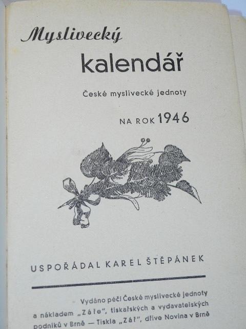 Myslivecký kalendář České myslivecké jednoty na rok 1946