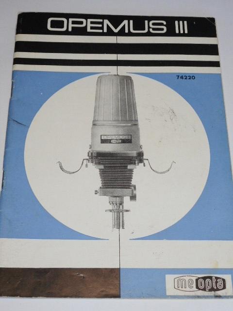 Opemus III zvětšovací přístroj - návod k obsluze - 1969 - Meopta