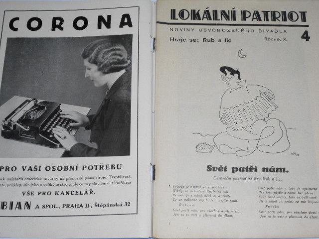 Lokální patriot - noviny Osvobozeného divadla - Rub a líc - Voskovec - Werich - 1937