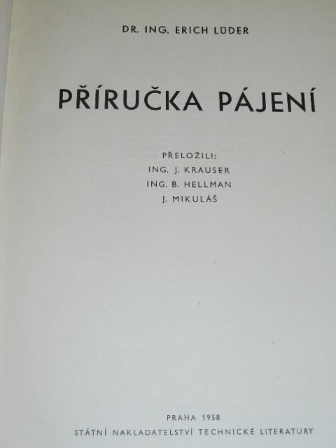 Příručka pájení - Erich Lüder - 1958