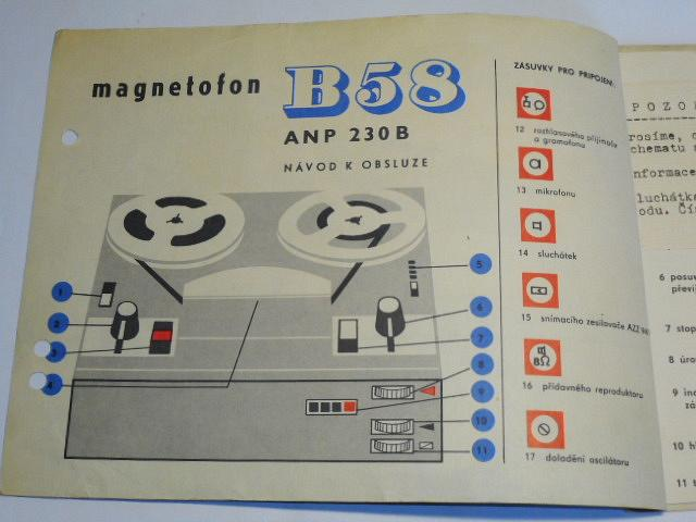 Tesla B 58 ANP 230 B magnetofon - návod k obsluze