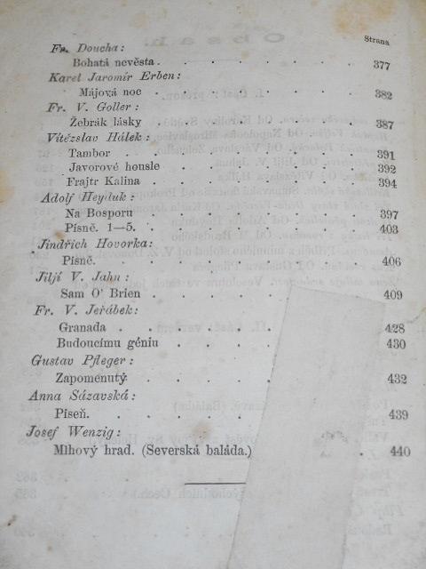 Máj - jarní almanach na rok 1860 - Vítězslav Hálek - III. ročník s podobiznou Františka palckého