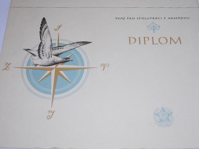 Svazarm - Svaz pro spolupráci s armádou - diplom - 1955 - poštovní holub