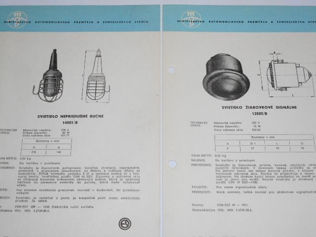 Svítidla důlní, žárovková, zářivková - katalogové listy - 1956
