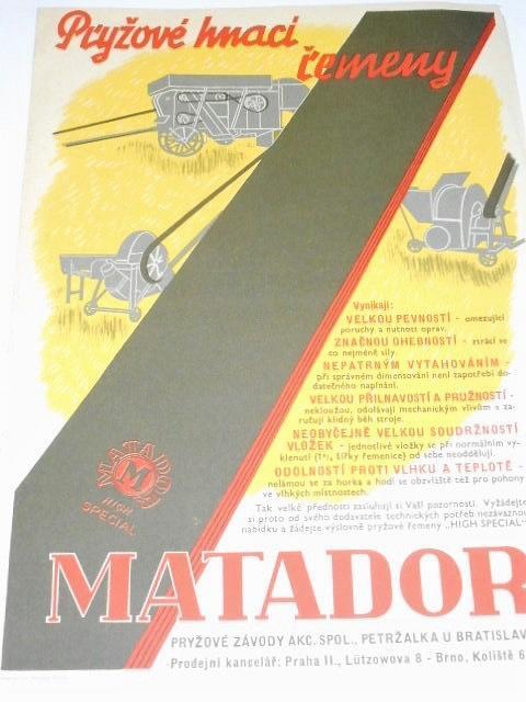 Matador - pryžové hnací řemeny - prospekt - leták