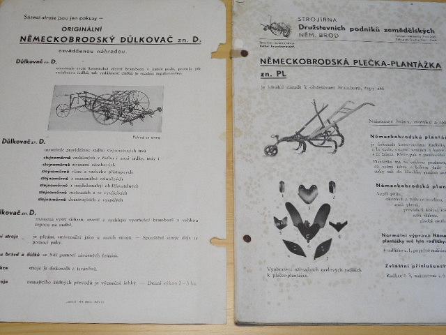 Strojírna Družstevních podniků zemědělských Německý Brod - důlkovač, plečka, vyorávadlo bramborů, pařák, krouhačka, lis na slámu, řezačka, odstředivka... soubor prospeků