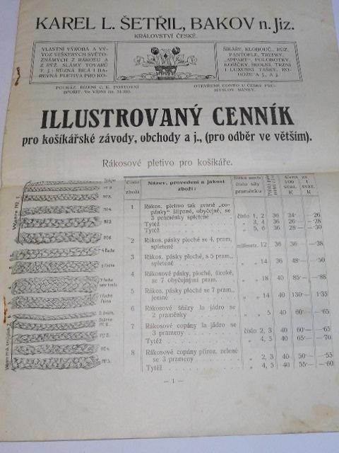 Karel L. Šetřil, výroba všeho druhu rákosového zboží, Bakov nad Jizerou, Království České - ilustrovaný cenník pro košíkářské závody, obchody aj.
