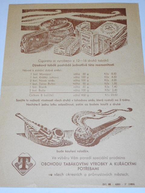 Obchod tabákovými výrobky a kuřáckými potřebami - leták