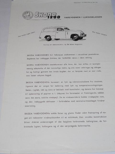 Škoda 1200 - prospekt - Skandinavisk Auto-import