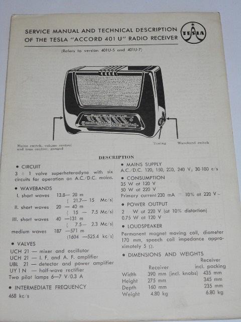 Tesla - service manual and technical description of the Tesla Accord 401 U radio receiver