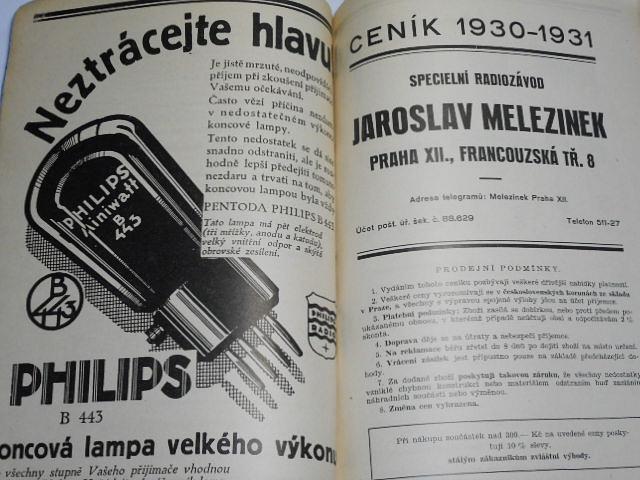 C.Q..de..S.N. příručka pro všechny radioamatéry - sbírka návodů s plánky a schematy - Sláva Nečásek - 1930 + ceník 1930 - 1931 specielní radiozávod Jaroslav Melezinek, Praha