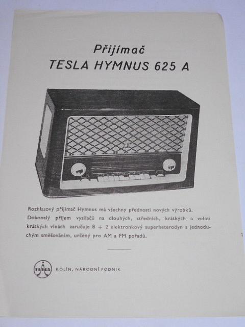 Tesla Hymnus 625 A - přijímač - prospekt