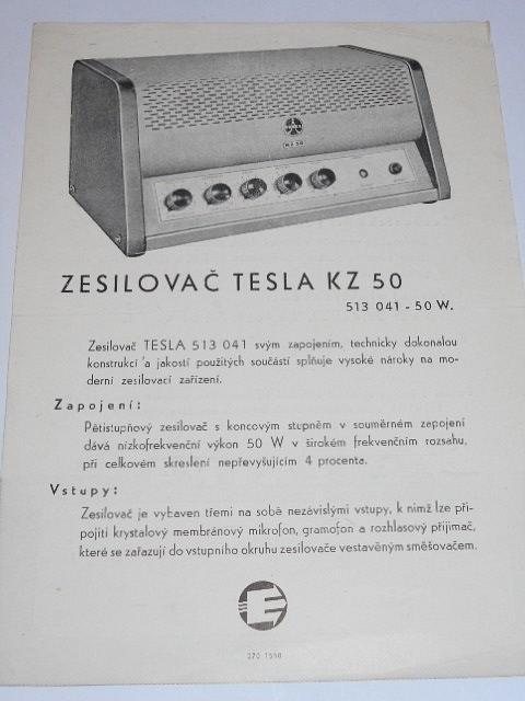 Tesla KZ 50 - zesilovač - prospekt