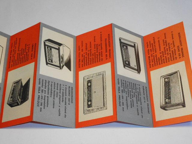 Tesla - rozhlasové přijímače - prospekt - Echo 532 A, Variace 627 A, Filharmonie 805 A, Allegro 1007 A, Poézia 427 A, Sputnik 320 A, Gavota 424 A, Lunik314 B, Doris, Mír...