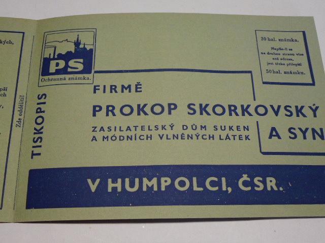 Barvy jara a léta - Prokop Skorkovský a syn, Humpolec - zasilatelský dům suken a módních vlněných látek - dopisnice