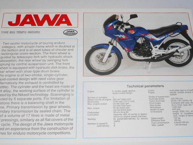 JAWA 250 type 593 Tempo enduro - prospekt