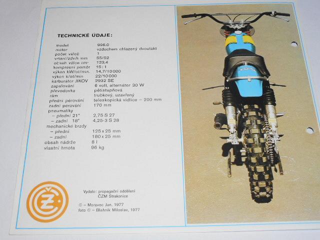 ČZ 125 typ 996.0 motocross - prospekt - 1977