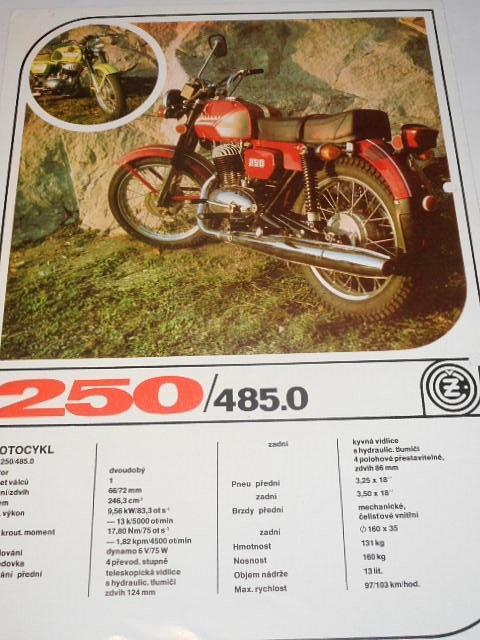 ČZ 250 typ 485.0 - prospekt