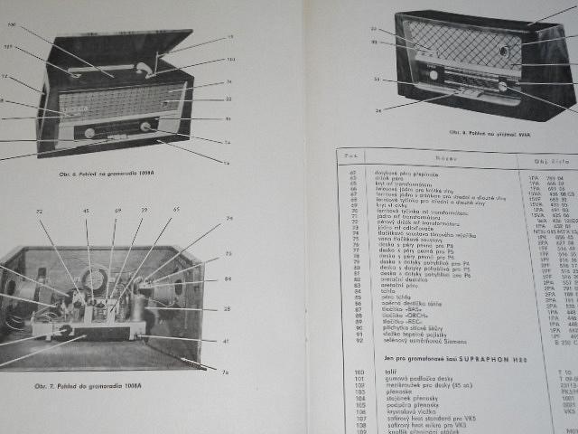 Tesla - návod k údržbě přístrojů Tesla 424A Gavota, Tesla 1008A Liberta - 1961