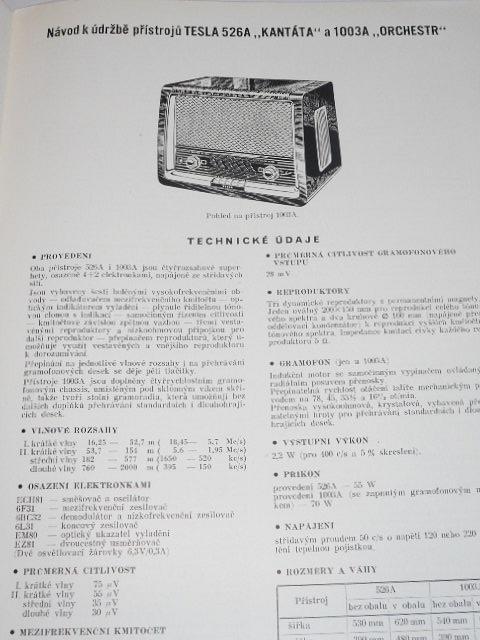 Tesla - návod k údržbě přístrojů 526A Kantáta, 1003A Orchestr - 1958