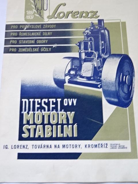 Lorenz - dieselovy motory stabilní - prospekt - 1937