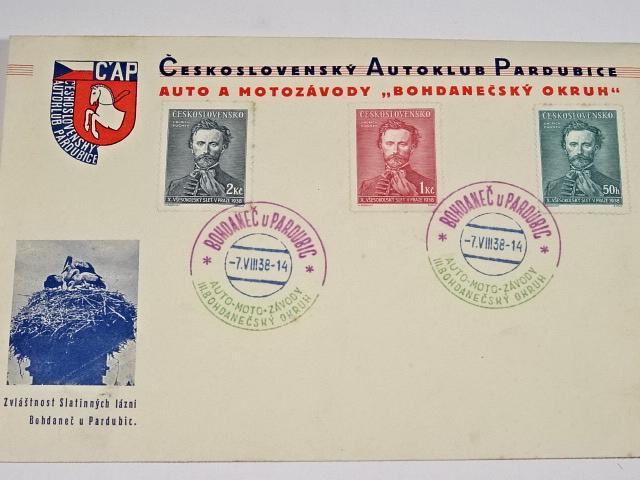 Československý Autoklub Pardubice - auto a moto závody - Bohdanečský okruh - 1938 - obálka