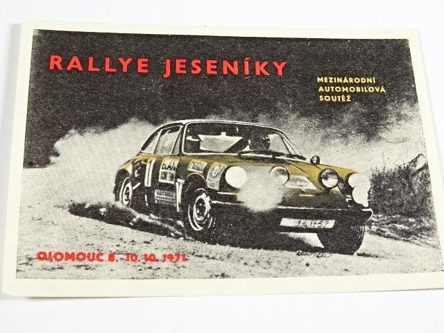 Rallye Jeseníky - mezinárodní automobilová soutěž - Olomouc 8. . 10. 10. 1971 - nálepka