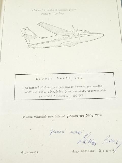 Letoun L-410 UVP - technické minimum pro periodické školení pracovníků oddělení 2140, létajících jako techničtí pozorovatelé na palubě letounu L - 410 UVP
