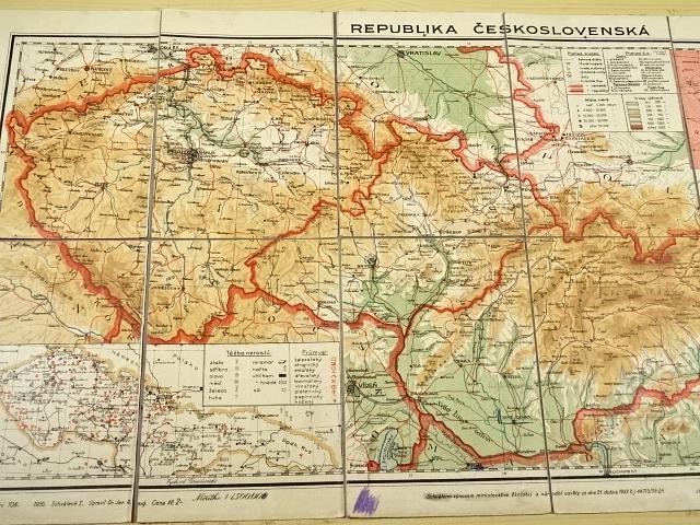 Republika Československá - mapa - 1936