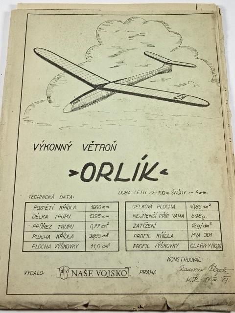 Výkonný větroň Orlík - plán - výkres