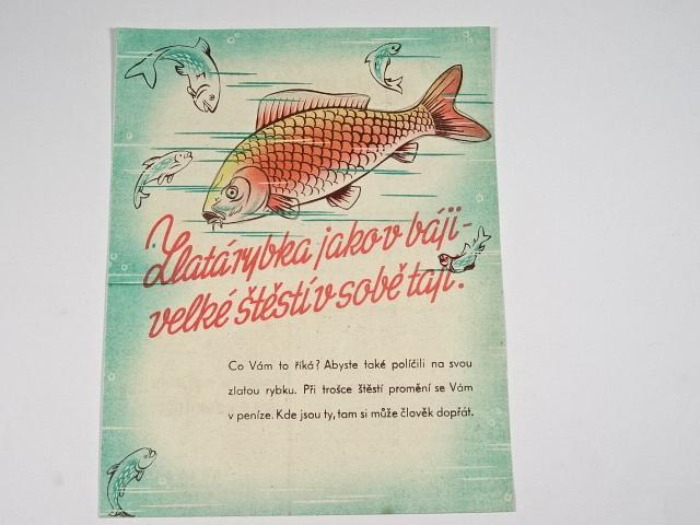 Zlatá rybka jako v báji - velké štěstí v sobě tají - los třídní loterie - Svaz brannosti - leták