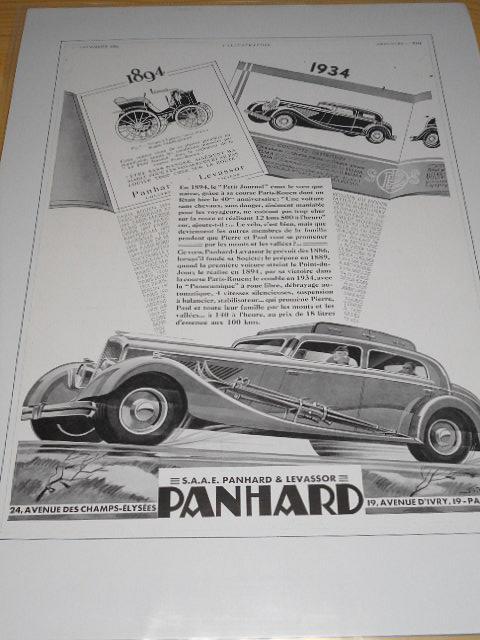 Panhard - reklama ze starého časopisu - 1934