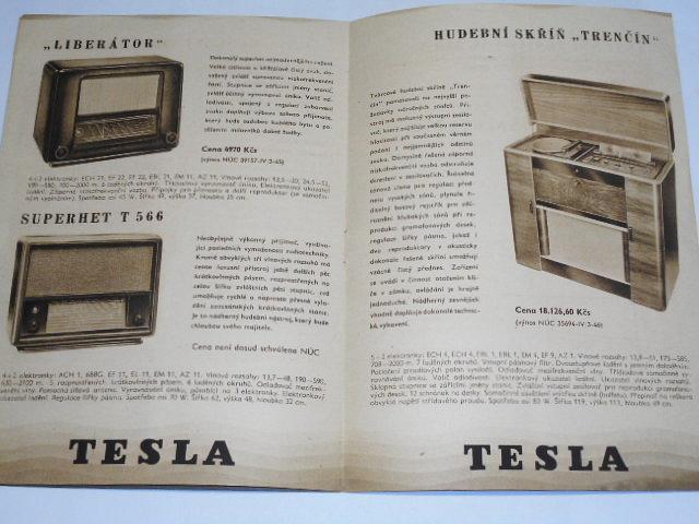 Tesla - Superhet, Talisman, Onyx Grand... prospekt - 1946