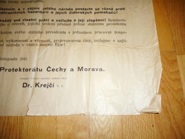 Vyhláška protektorátní vlády o poslouchání zahraničního rozhlasu... 1941