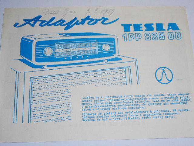 Tesla adaptor 1PP 835 00 - 1959 - prospekt
