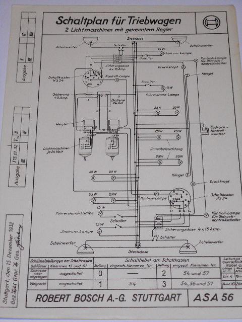 Bosch - Schaltplan für Triebwagen - 1932