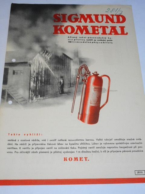 Sigmund Pumpy Olomouc-Lutín - Sigmund Kometal - hasicí přístroj - prospekt