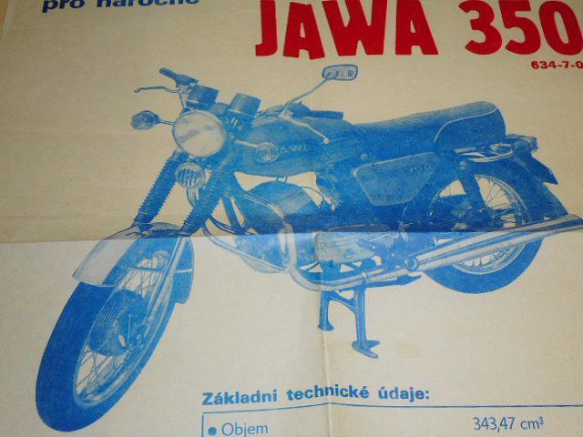 JAWA 350 typ 634-7-02 - plakát - Mototechna - 1981
