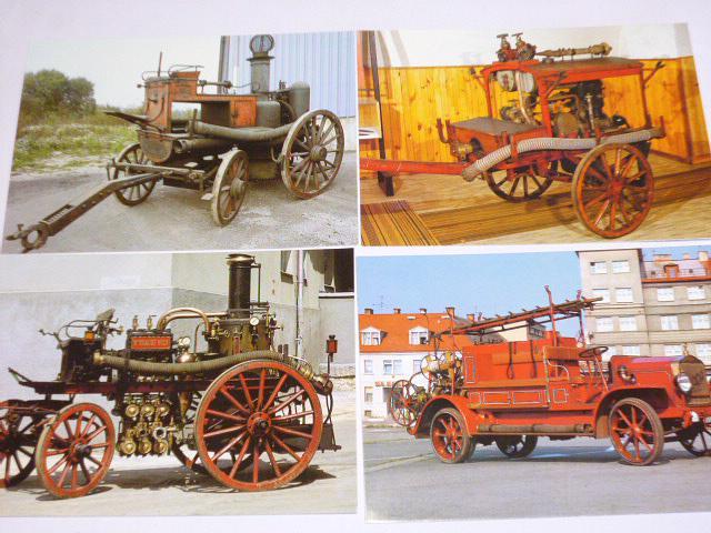 Stará požární technika - pohlednice