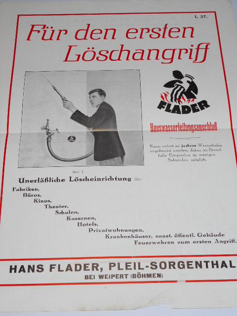 Flader - Für den ersten Löschangrift - prospekt - 1931